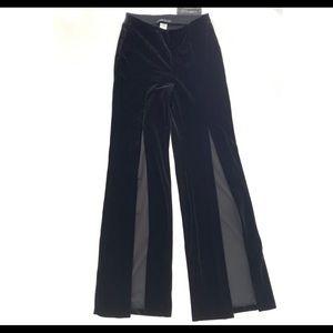 Velvet Wide Leg Trousers, Slit Front NWT